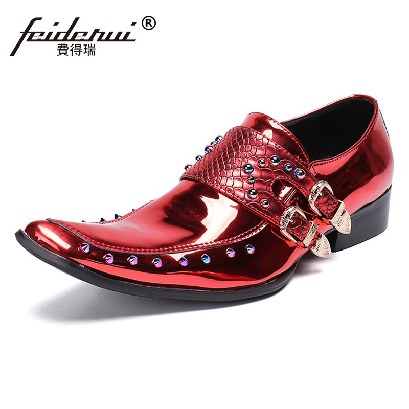 Plus Size Italian Pointed Toe Spiked Man Wedding Party Loafers Patent Leather Slip on Men's Monk Straps Studded Punk Shoes SL276