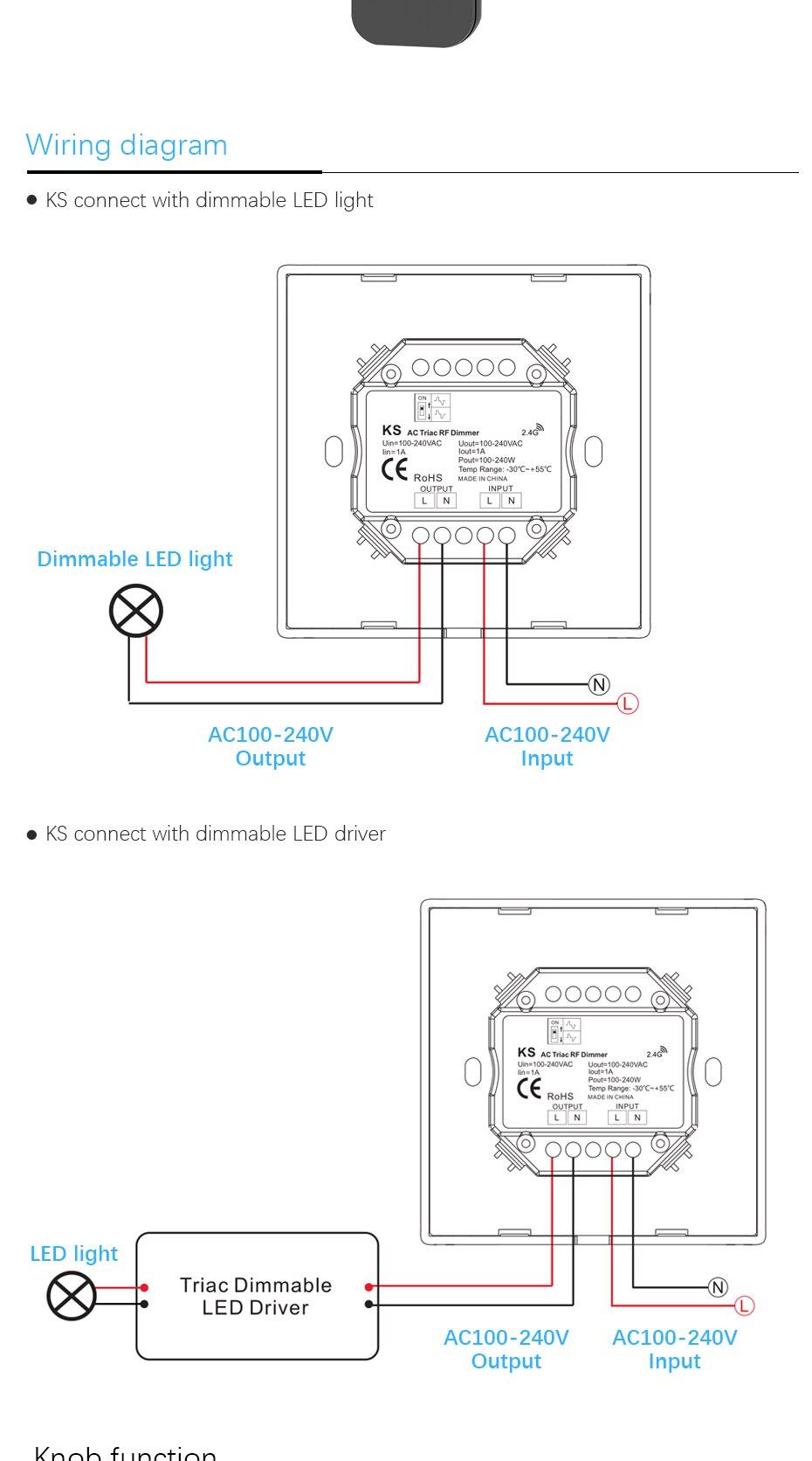 Ac Triac Led Dimmer 220v 230v 110v Wireless Rf Dimmable Knob Switch Wiring Diagram For Ks 01 02 03 04 05