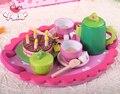 Entrega gratuita jogo de chá combinação de brinquedos de madeira, com linda pequena mesa quadrada, casa de jogo de simulação de fantasia, brinquedos da menina