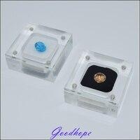 Groothandel 30 stks/partij Clear Acryl Vierkante Gem Gemstone Houder Kralen Sieraden Display Dozen Bruiloft Diamant Opslag Case Kist