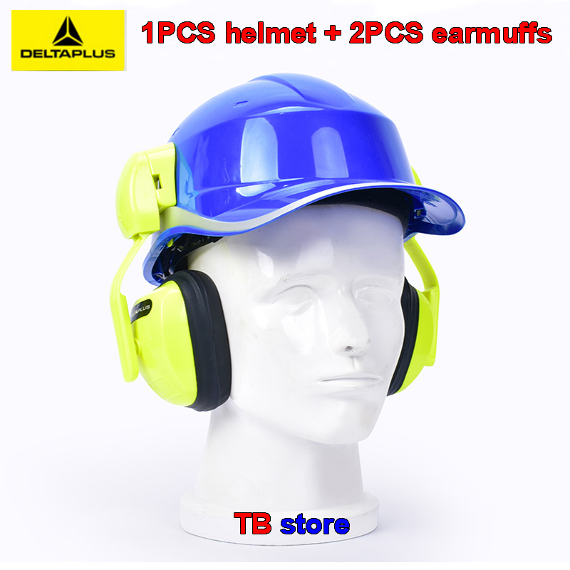 DELTA PLUS Hard hat + earmuffs 102018 ABS insulation helmet 103008 ear-hook earmuffs Noise prevention 33db Integrated protection