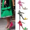 2015 Mulheres Sandálias de Verão Sapatos Finos Sapatos de Salto Alto Mulher Bombas Colorido Bowtie com Tira No Tornozelo Sandálias Gladiador Sandalias WEO080