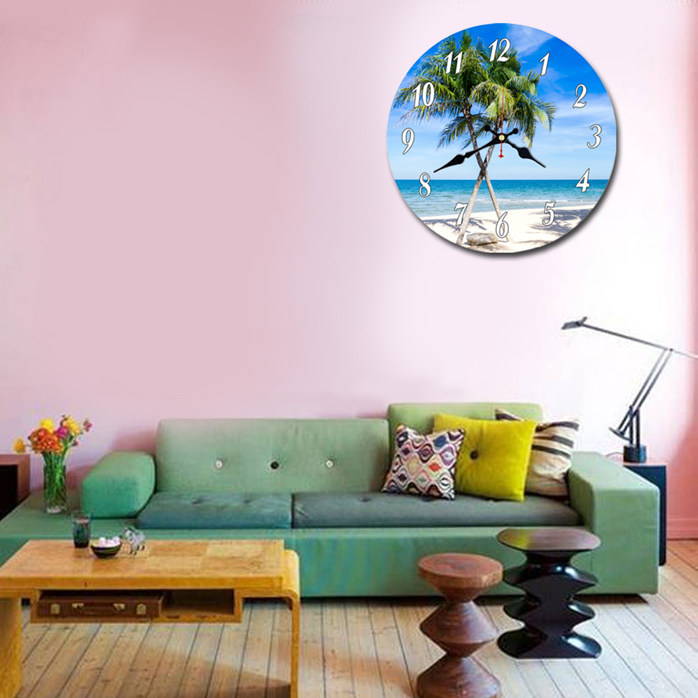 WONZOM Beach Coconut Trees Design Wall Clock For Home Decor Wall Art Large Wall Watch No Ticking Sound Creative Decoration in Wall Clocks from Home Garden