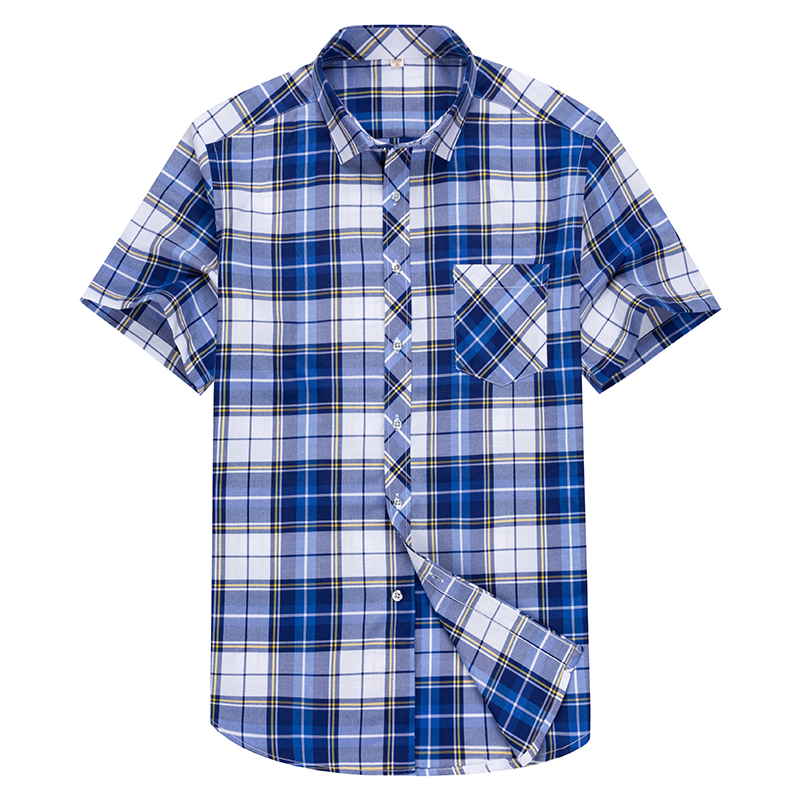 Checkered shirts for men Summer short sleeved leisure slim fit Plaid Shirt square collar soft causal male tops with front pocket 4