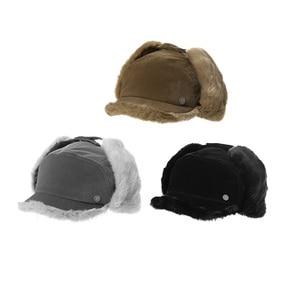 Image 5 - FANCET החורף חם פו פרווה מפציץ כובעי לנשים מוצק אקריליק רוסיה כובעי זכר אוזן דש הגנה מתכוונן Ushanka 99723
