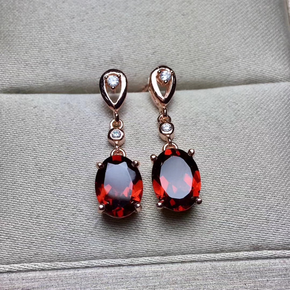 Fashion natural red garnet drop earrings Natural gem stone earrings water drop round 925 silver female