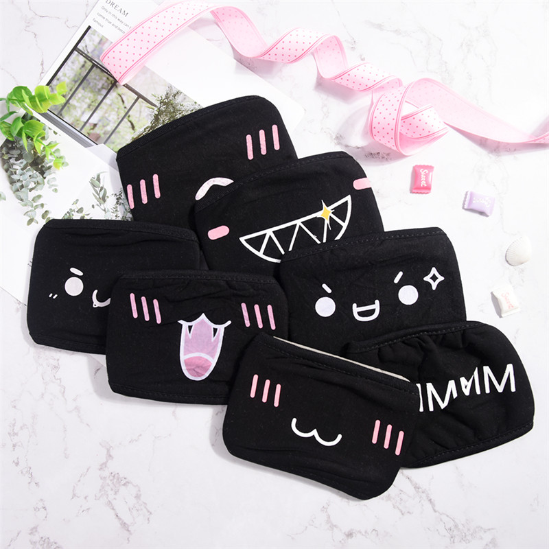 1Pc Unisex Anti-Dust Cotton Face Mask Pattern Black Mask Cute Half Face Mouth