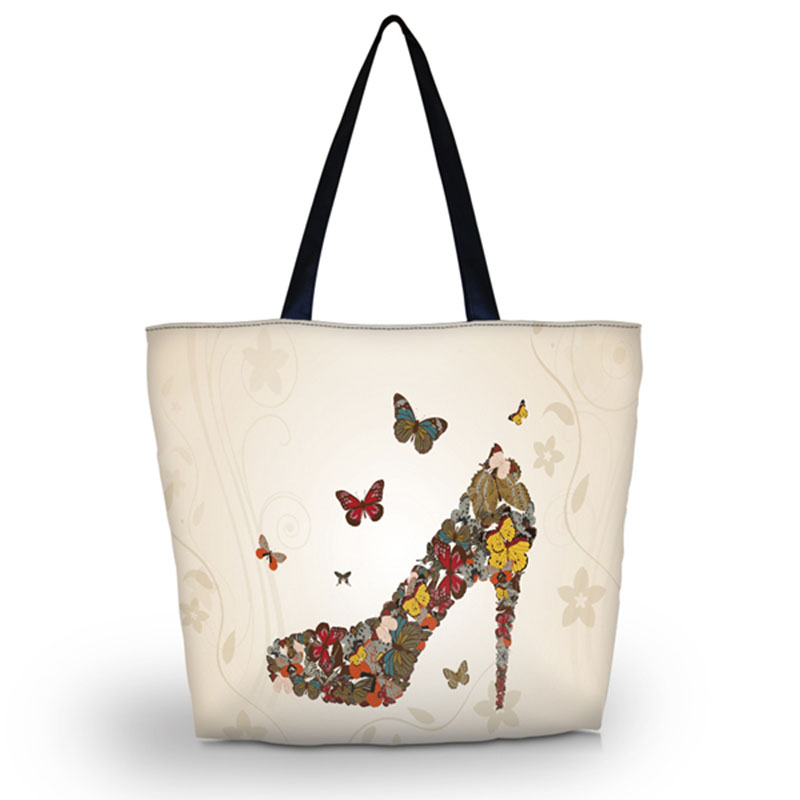 Brave Soft Foldable Tote Women Shopping Bag Beach Tote Shoulder Bag Purse Handbag Travel School Grocery Packing Bag Shoes Butterfly Firm In Structure