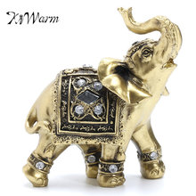 KiWarm Hot Sale Vintage Feng Shui Elegant Elephant Trunk Statue Lucky Wealth Figurine Gift and Home Decoration