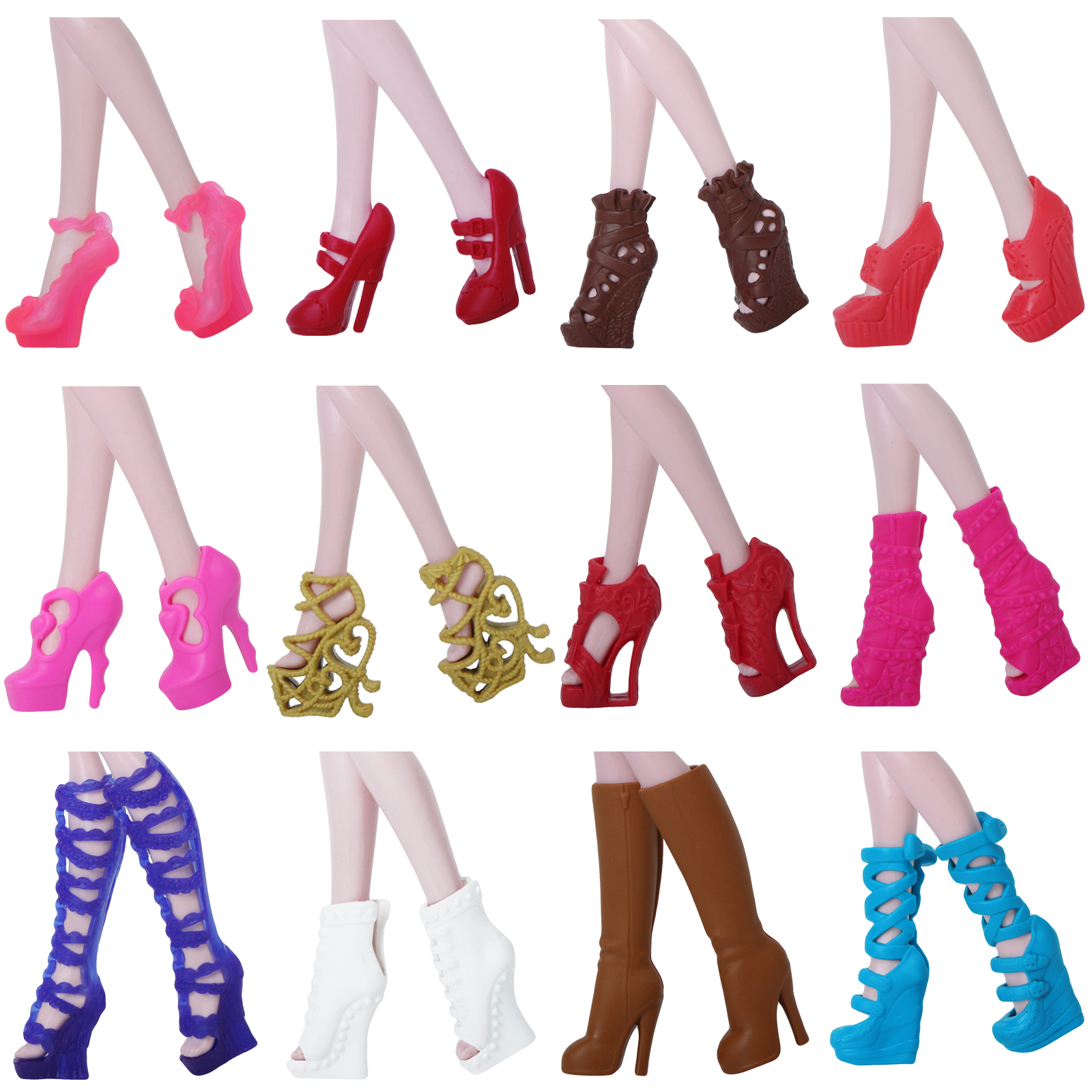 High Quality Shoes Fashion Mixed Style High Heel Boots Colorful Sandals Accessories For Monster High Doll 10