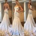 2017 Blush Verão Vestidos Bohemian Boho Casamento Do Laço Da Sereia Querida Backless Lace Apliques Custom Made Vestidos de Noiva
