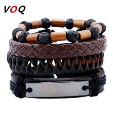Wholesale 1Set 4pcs Punk Braided Adjustable Leather Bracelet Men Women Unisex Vintage Cuff Bracelet Set Jewelry Pulseras Hombre