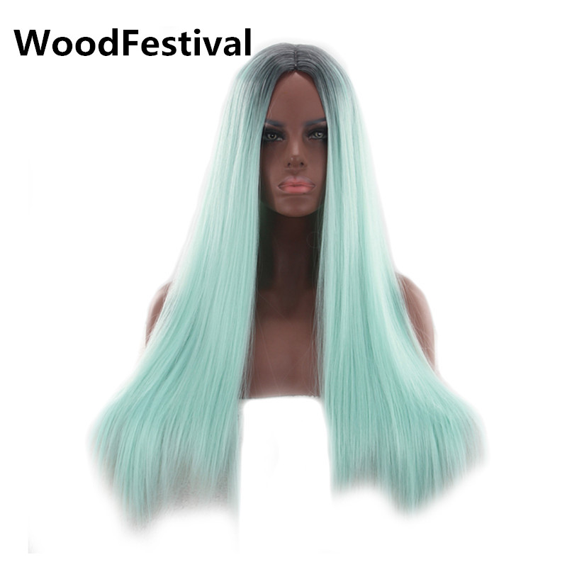 WoodFestival heat resistant synthetic wigs long mint green wig cosplay ombre yellow black women straight hair