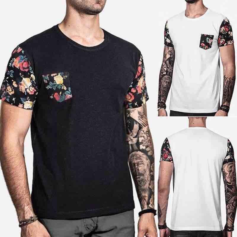 2018 New Arrive Men Fashion Print Short Sleeve O-neck Casual T-Shirt Pocket Printed Blouse Men Shirt Top