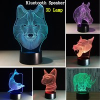 7Color Animal Cartoon Acrylic 3D Illusion LED Night Light for Bedroom Desk Table Touchs Switch Lamp with bluetooth Speaker Base
