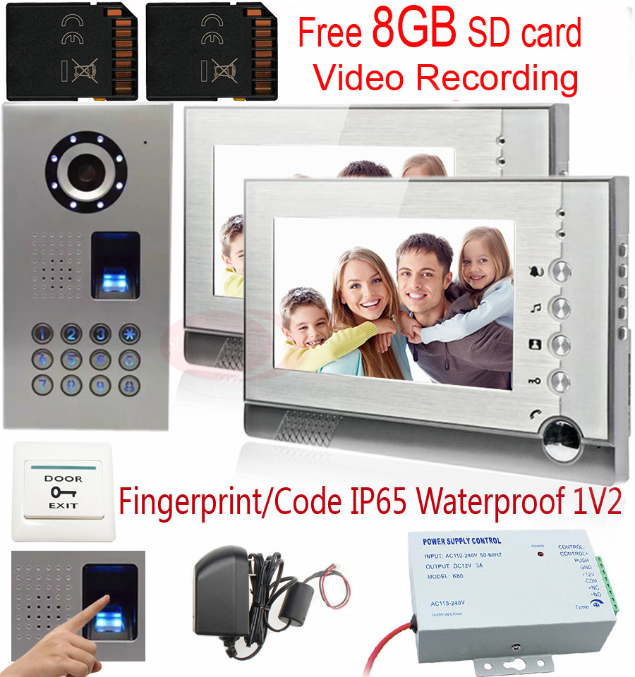 7 Wired Intercom Video Doorphone Door intercom Color LCD support Recording 8GB SD Card Fingerprint/code unlock Intercom System