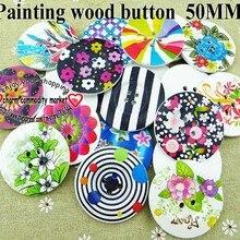 8 шт. 50 мм смешанный цветочный Раскрашенные Деревянные Пуговицы 4 отверстия пальто сапоги швейная одежда аксессуар кнопка MCB-881a