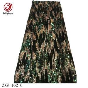 Image 5 - Milylace Nigeriano paillettes tessuto in velluto 5 metri a due colori sequenza di modo tessuto in velluto morbido tessuto per vestiti da partito ZXW 162