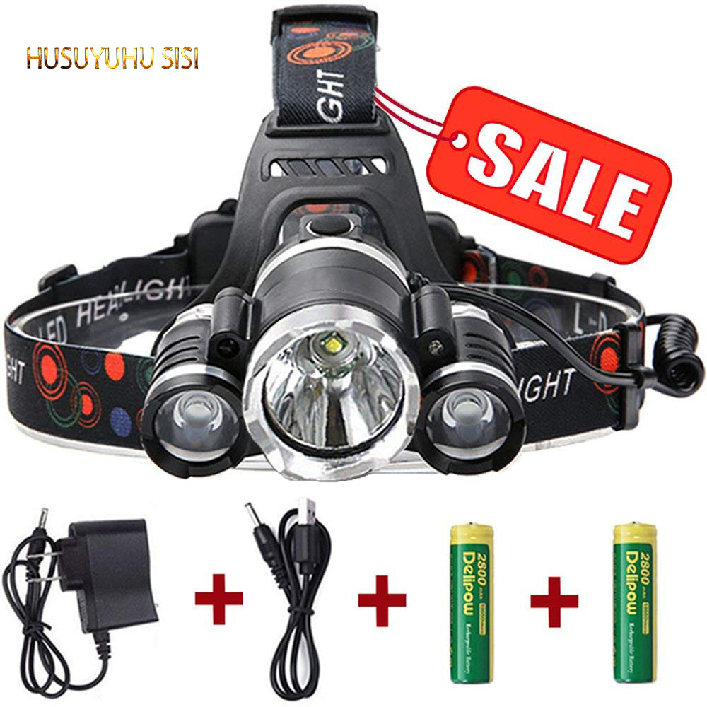 HUSUYUHU SISI Tri core strong headlights rechargeable long range be inductive zoom super bright head mounted