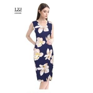 LZJ 2017 new professional female dress vestidos plus size fashion print floral floral O collar collar work female pencil dress