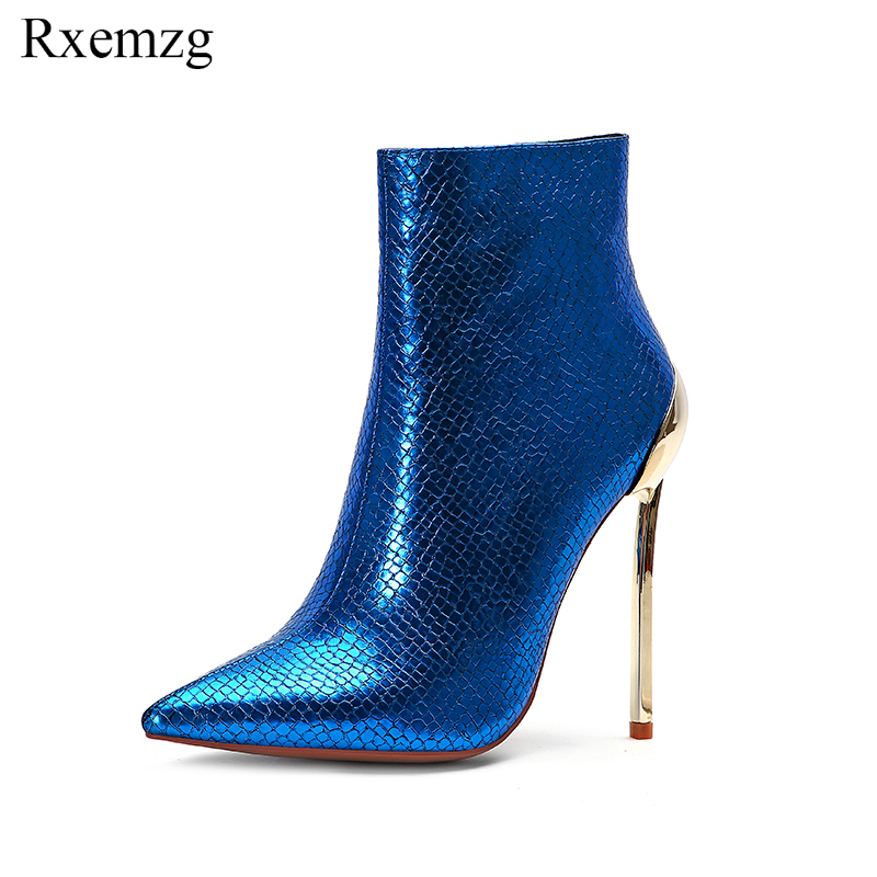 Rxemzg 2019 new blue women ankle boots pointed toe metal high heel boots snake pattern women