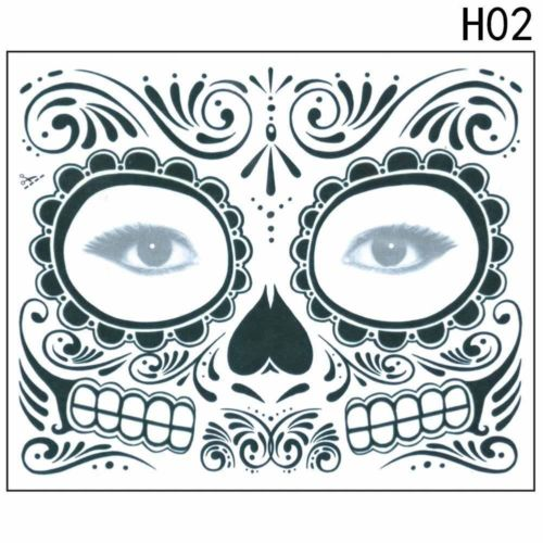 Day Of The Dead Temporary Tattoo Mask Costume Metal Flash Tattoos