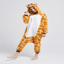 Jirafa Animal Pijamas Kigurumi Unisex Adulta Cosplay Onesies Animales ropa de Dormir Mameluco Largo de la Manga