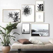 Palma Dália Árvore Canvas Art Poster Escandinavo nórdico Oceano Paisagem de Impressão Preto Branco Pintura Moderna Imagem Home Decor