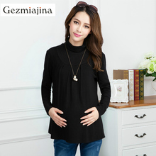 Fashion maternity clothing Autumn winter pregnancy wear High collar shirt Add wool Pregnant women tops cotton long-sleeve blouse