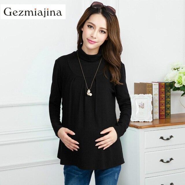 2730c52fc Moda Otoño Invierno ropa de maternidad embarazo desgaste cuello alto camisa  añadir lana mujeres embarazadas tops