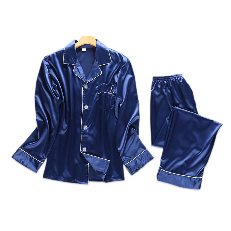 autumn satins silk mens pajamas casual mens polyester pajamas long sleeve satin pyjamas simple sleepwear indoor wear