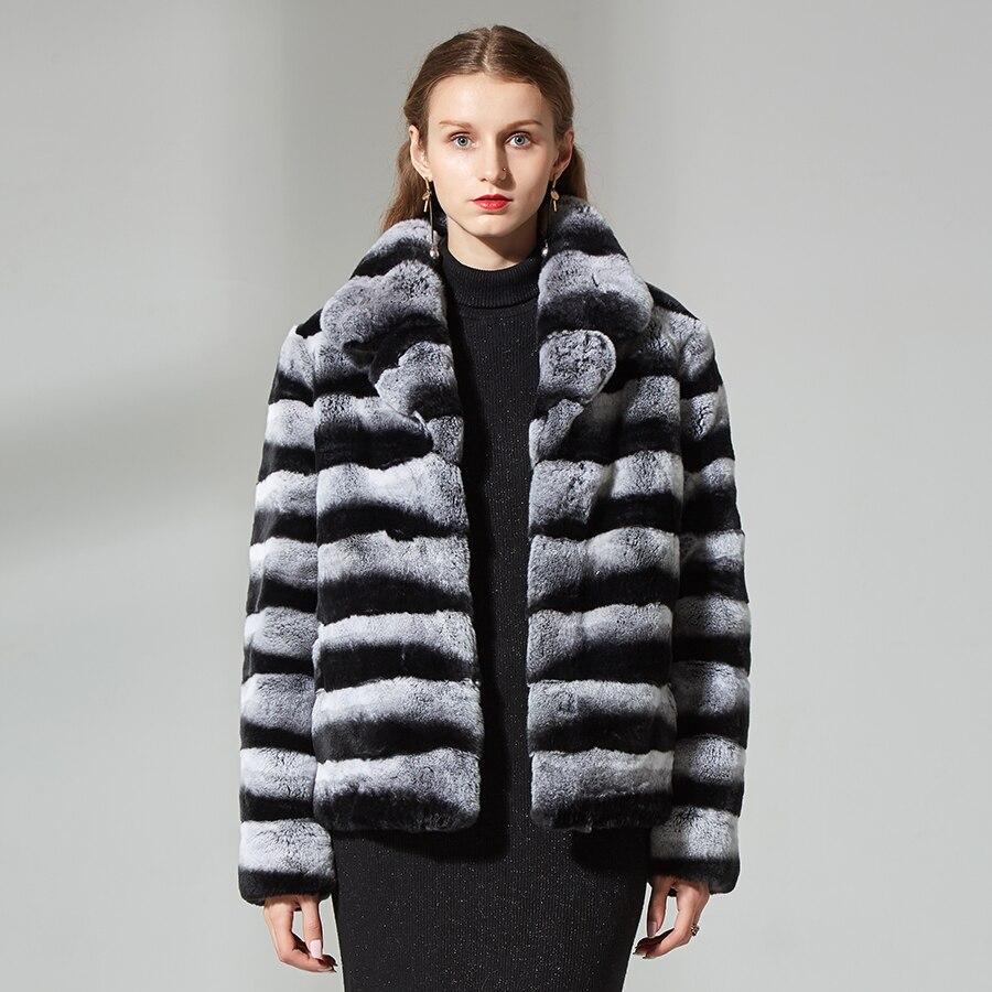 Chinchilla cappotto di pelliccia corta rex del coniglio cappotto di pelliccia Vera giacca di pelliccia di inverno delle donne cappotti della tuta sportiva