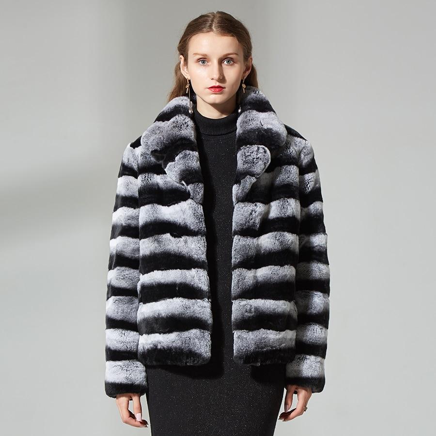Chinchilla manteau de fourrure court rex lapin manteau de fourrure Véritable fourrure veste d'hiver femmes manteaux