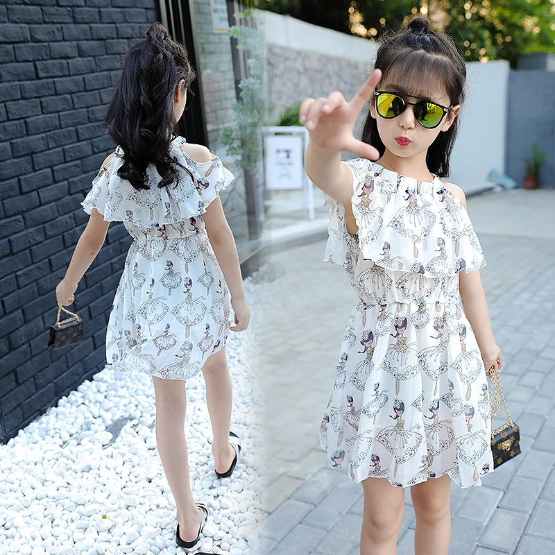 2018 New Flower Girls Dress Summer Style Teen Children Cute Clothing Fashion Kids Party Clothes Short Sleeve Dresses for Girls summer 2017 new korean style fashion fly sleeve girls dress cute children clothing kids lace princess costume girls clothes