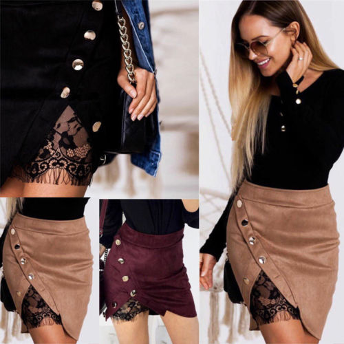 Retro Women High Waist Lace Up Pencil Skirt Suede Fabric Leather Pocket Sexy Lace Patchwork Mini Skirt Club Wear Plus Size S-2XL