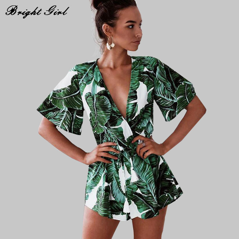 BRIGHT GIRL Summer Sexy Dress New Ladies Clothes Causal Tropical Plants Short Sleeve Dresses For Women V-Neck Mini Dress BG17469