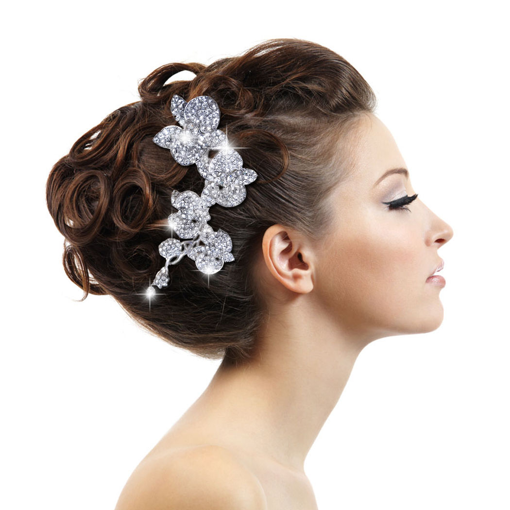 Orchid Flower Hair b Rhinestone Crystal Hairpins Bridal Wedding Haie Jewel