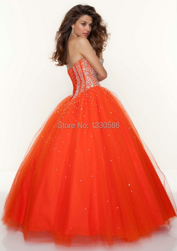 Fabulous Beaded Sweetheart Sexy Open Back Lime Green Orange Melon