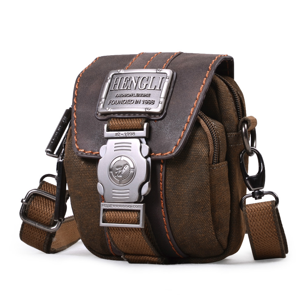 2018 FREE SHIPPING male multifunctional shoulder messenger bag small waist pack  canvas bag casual man vintage 2a514b1699