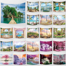 Unicorn beauty tapestry sea islands landscape  wall hanging home decoration large rectangle bedroom