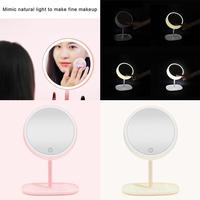 Three gears Adjustment LED Make Up Mirror with Apricot, Pink 0.65KG Light Portable Touch Charging