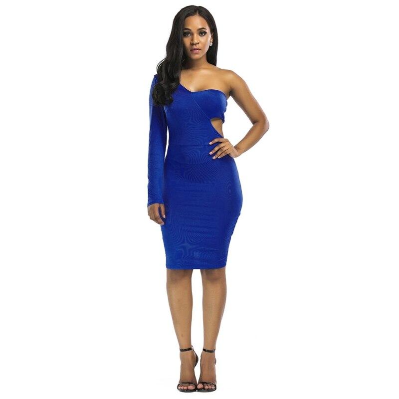 Fashion Women Sexy Slim Dress Solid Color Backless One-Shoulder Bodycon Club Tight Dress Vestidos Y2