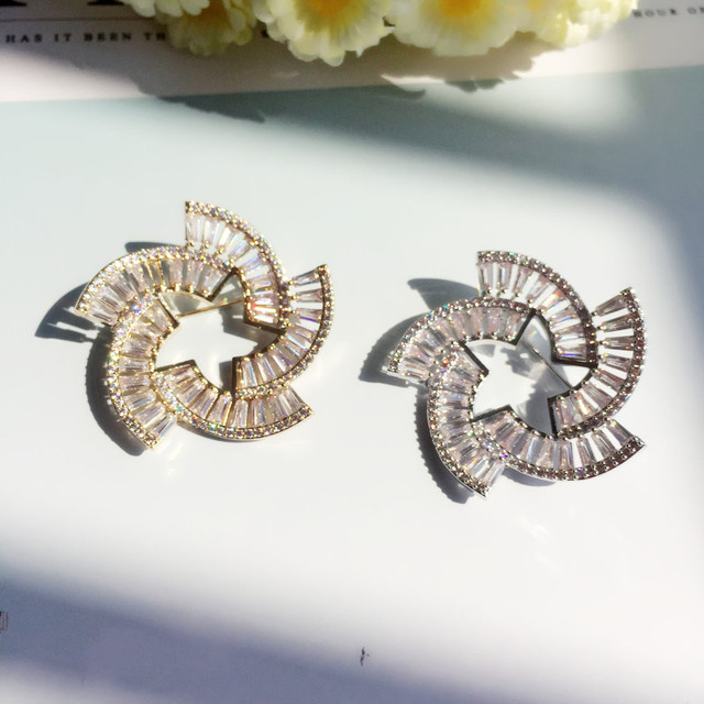 New Style Luxury Windmill Brooches Pins For Women Lady Fashion Cubic  Zirconia Brooch Sweater Corsage Jewelry