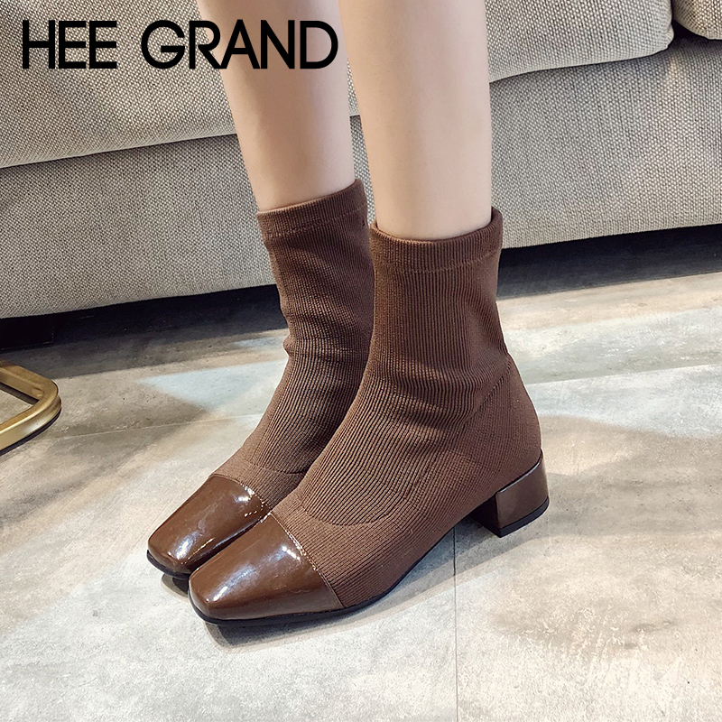 HEE GRAND Knitting Sexy Winter Warm Ankle Boots Women Square Toe Shoes Woman Slip on Solid Ankle Boots Shoes Size 35-39 XWX6882 hee grand women ankle boots for 2017 new autumn solid pu pumps shoes pointed toe high heels boot shoes woman size 35 43 xwx4253