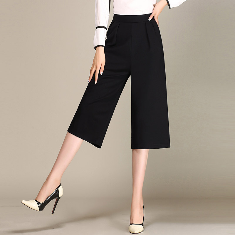 Summer High Waist   Wide     Leg     Pants   Casual Calf Length Broad   Leg   Capris Loose White Black Palazzo Culottes Stretch Trouser
