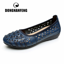 DONGNANFENG Mother Women Shoes Sandals Flats Hollow Out Genuine Leather Slip On Loafers Casual Vintage Plus Size 42 43 HN 1627
