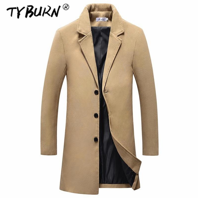 TYBURN Winter Men Fashion Woolen Coat Boys Casual Long Sleeve Solid Color Woolen Outwear Coat Male Korean Long Overcoat 2019