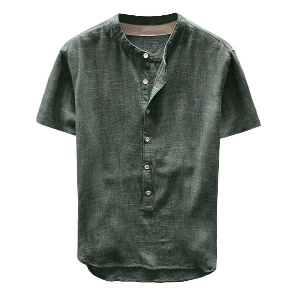 Homens camisa de Linho Ocasional túnica Sólidos Manga Curta Mens Camisa Sem Colarinho tunique chemise homme Camisa túnicas de manga longa los linho