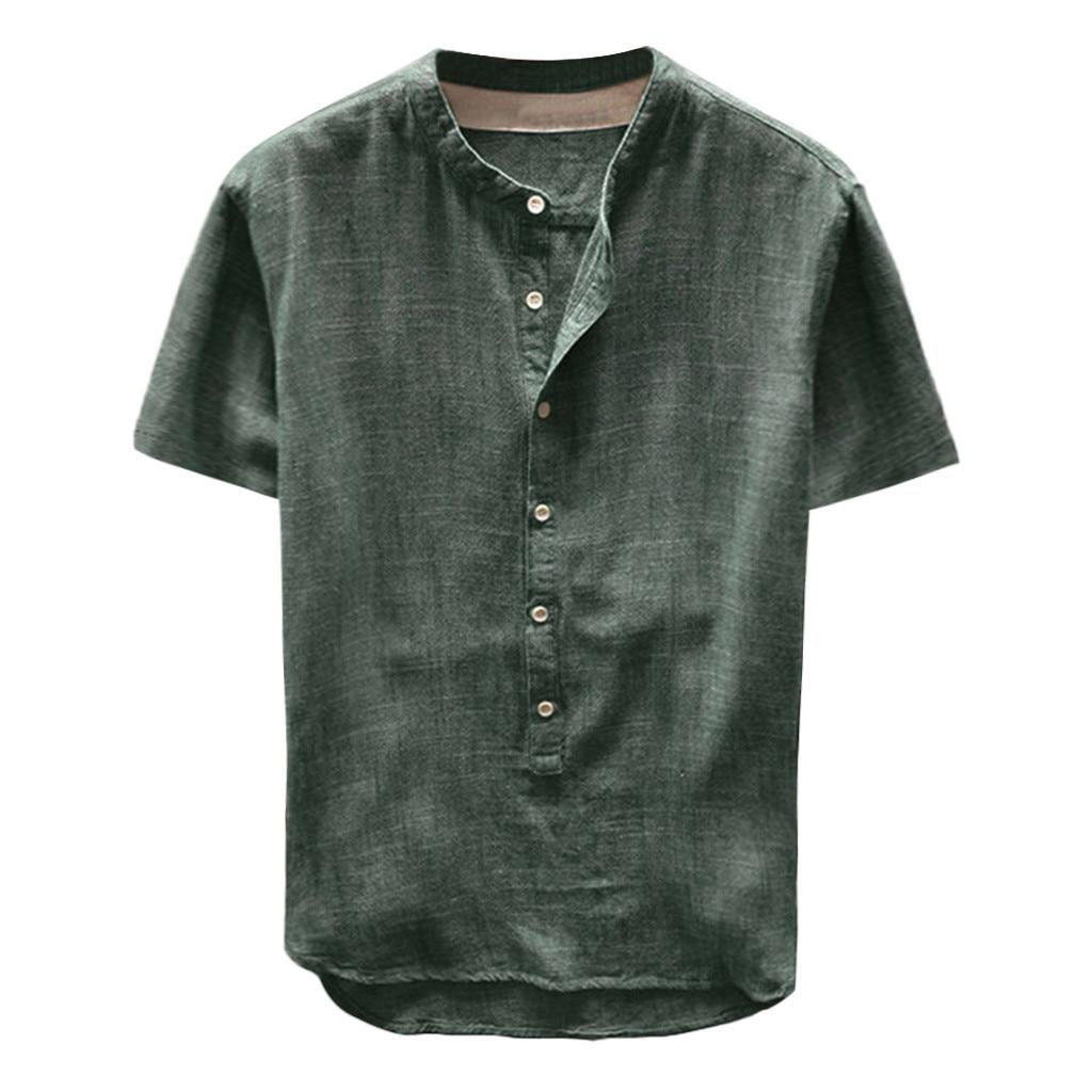 Túnica de hombre camisa Casual de lino sólido de manga corta para hombre camisa sin cuello tunique chemise homme de manga larga tunicas em linho camisa