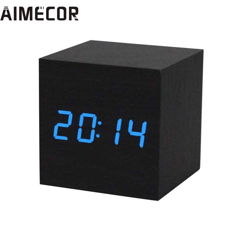 1PC Digital LED Alarm Clock Wooden Desk Alarm Clock Voice Control 3M18